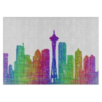 Seattle skyline cutting board