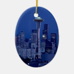 Seattle skyline Double-Sided oval ceramic christmas ornament