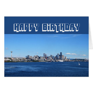Seattle Skyline Happy Birthday Greeting Cards