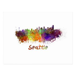 Seattle skyline in watercolor postcard