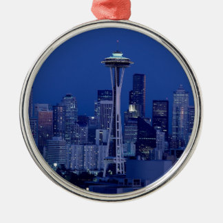 Seattle skyline metal ornament