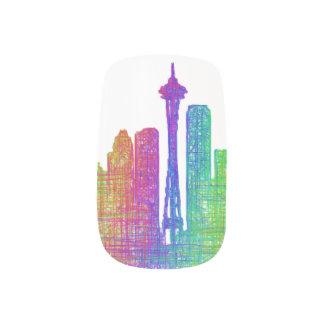 Seattle skyline minx nail art