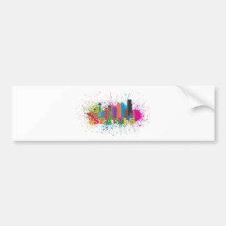 Seattle Skyline Paint Splatter Illustration Bumper Sticker