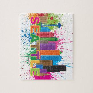 Seattle Skyline Paint Splatter Illustration Jigsaw Puzzle