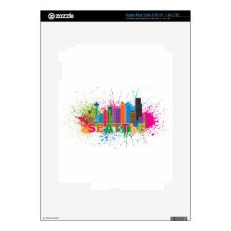 Seattle Skyline Paint Splatter Illustration Skin For iPad 3