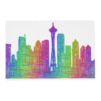 Seattle skyline placemat