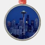 Seattle skyline round metal christmas ornament