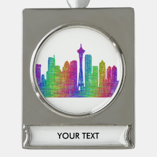 Seattle skyline silver plated banner ornament