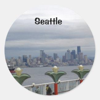 Seattle Skyline Round Sticker