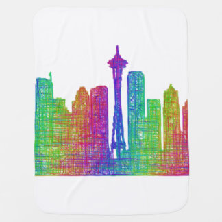 Seattle skyline swaddle blanket