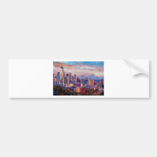 Seattle Skyline With Space Needle And Mt Rainier Car Bumper Sticker