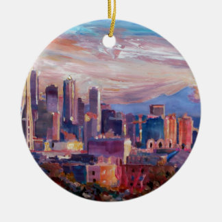 Seattle Skyline With Space Needle And Mt Rainier Ceramic Ornament