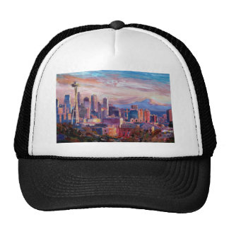 Seattle Skyline With Space Needle And Mt Rainier Mesh Hats