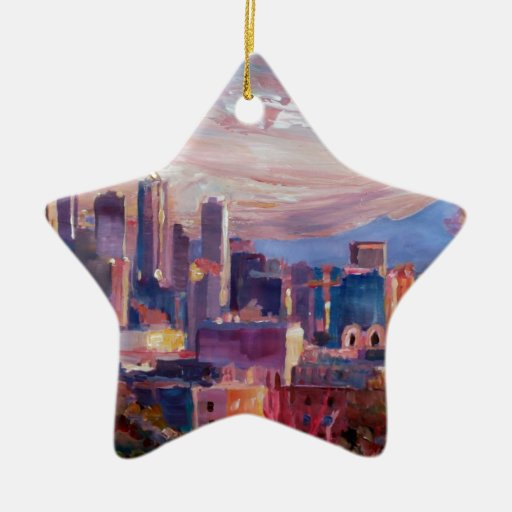Seattle Skyline With Space Needle And Mt Rainier Christmas Tree Ornaments