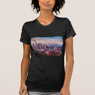 Seattle Skyline With Space Needle And Mt Rainier T-shirts