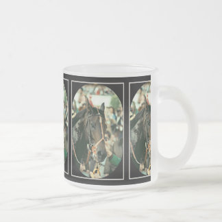 Seattle Slew Thoroughbred 1978 10 Oz Frosted Glass Coffee Mug