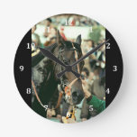Seattle Slew Thoroughbred 1978 Round Wall Clocks