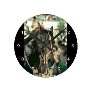 Seattle Slew Thoroughbred 1978 Round Wall Clocks