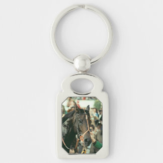 Seattle Slew Thoroughbred 1978 Silver-Colored Rectangular Metal Keychain