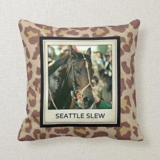 Seattle Slew Thoroughbred 1978 Throw Pillow