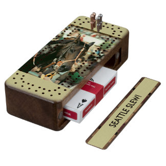 Seattle Slew Thoroughbred 1978 Wood Cribbage Board