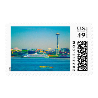 Seattle Space Needle and Elliott Bay Watercolor Postage