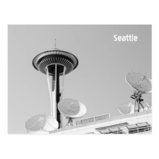 Seattle Space Needle and Satellites Postcard
