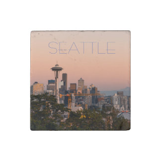 Seattle Sunset Stone Magnet