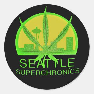 Seattle Superchronics (negro) Pegatina Redonda