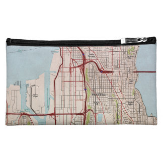 Seattle Topographic City Map Cosmetic Bag