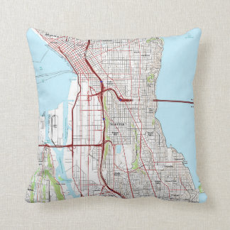 Seattle Topographic City Map Throw Pillow