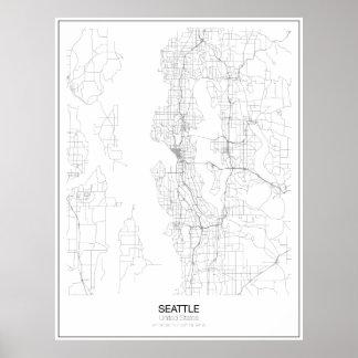 Seattle, United States Minimalist Map Poster