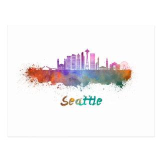 Seattle V2 skyline in watercolor Postcard