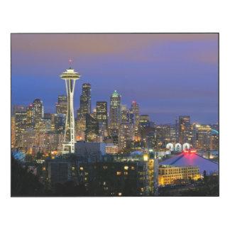 Seattle vista del parque de Kerry en la reina Anne Impresión En Madera