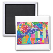 Seattle WA Outline on colorful pattern background Magnet