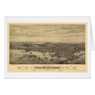 Seattle, WA Panoramic Map - 1878 Greeting Card