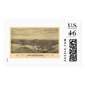 Seattle, WA Panoramic Map - 1878 Postage