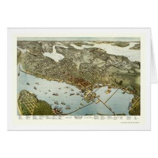 Seattle, WA Panoramic Map - 1891 Greeting Card