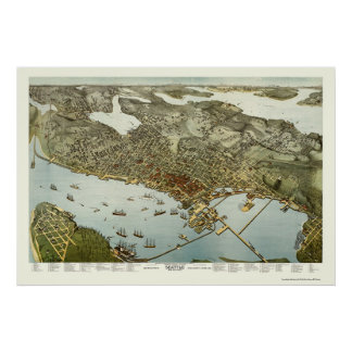 Seattle, WA Panoramic Map - 1891 Poster