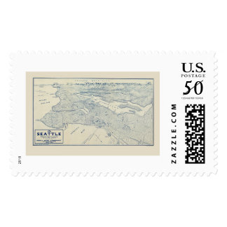 Seattle, WA Panoramic Map - 1925 Postage