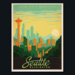 "Seattle, WA Postcard<br><div class=""desc"">Anderson Design Group is an award-winning illustration and design firm in Nashville,  Tennessee. Founder Joel Anderson directs a team of talented artists to create original poster art that looks like classic vintage advertising prints from the 1920s to the 1960s.</div>"