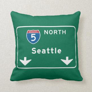 Seattle, WA Road Sign Throw Pillows