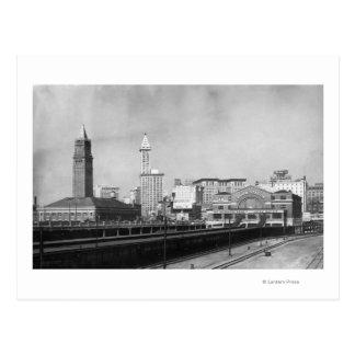 Seattle, WA - Seattle Railway Center and Smith Postcard