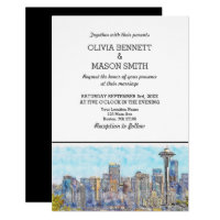 Seattle Wa Skyline Cityscape Wedding Invitation