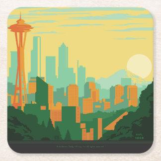 Seattle, WA Square Paper Coaster