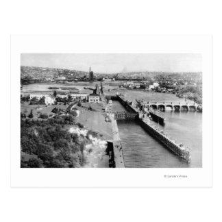 Seattle, WA US Government Locks Ballard View Postcard