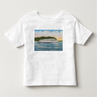 Seattle, WA - View of Kalakala Ferry on Puget T-shirt