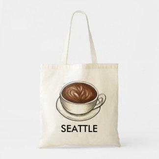 Seattle WA Washington Coffee Cup Latte Tote Bag
