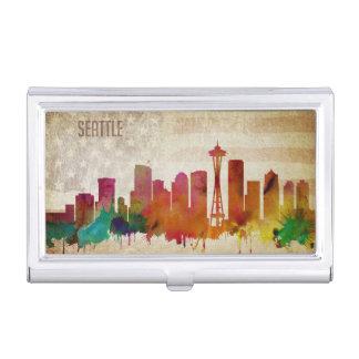 Seattle, WA | Watercolor City Skyline Business Card Case