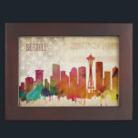 "Seattle, WA | Watercolor City Skyline Memory Box<br><div class=""desc"">A neon watercolor outline of the Seattle city skyline with a distressed American flag backdrop.</div>"